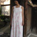 リネンピンク薔薇サマードレス
