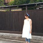 リネン裾花柄刺繍ノースリワンピース