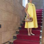 黄色のドイツ製リネンノースリーブワンピース