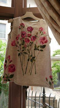 リネン薔薇ノースリーブブラウス