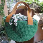 みどりの裂き編みバッグ