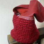 裂き編み赤い太い革ハンドルバッグアップ