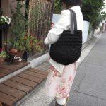 裂き編みバッグ黒トート大