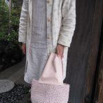 裂き編みバッグ桜色