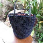 裂き編み黒ミニバッグ