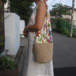 麻紐バッグ可愛い生地の持ち手
