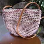 裂き編みバッグ 桜色グラデーション