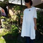 白リネン手縫いワンピース