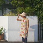 リネン花柄ノースリワンピース