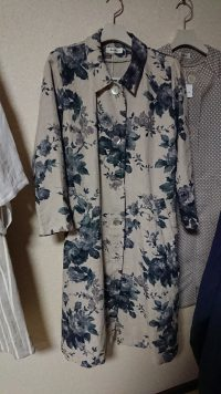 花柄リネンスプリングコート
